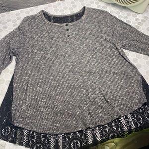 Large Gray Black Sheer Crochet Blouse
